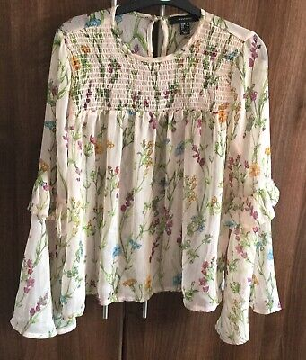 White Floral Blouse Smocked Sheer Floral Long Sleeve Ruffles, Primark Size 12