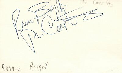 Ronnie Bright Musician The Coasters Rhythm & Blues Autographed Signed Index Card