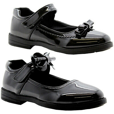 Girls Black Patent School Shoes Kids Bow Strap Party Ballerina Formal Pumps Size