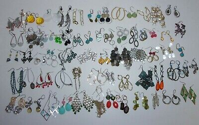 Big Lot 65 Pairs of Pierced Earrings Rhinestone Bead Crystal Stone Shell Dangle