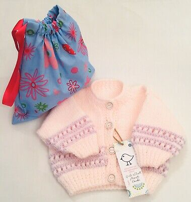 Kiddashery Baby Girls Peach 0-3 Mths Cardigan Hand Knitted, Sparkle Lilac