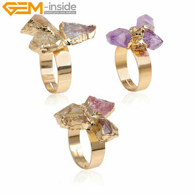 Yellow Gold Plated Multicolor Quartz Druzy Drusy Stone Ring Open Adjustable Gift