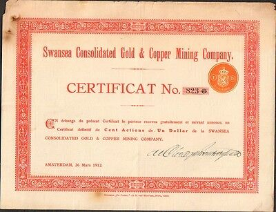 SWANSEA Consolidated Gold & Copper Mining Cy (AMSTERDAM PAYS-BAS) (P)