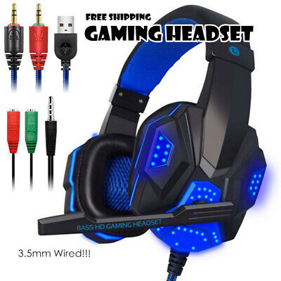 LED Gaming Headset Stereo Surround Headphone 3.5mm Wired With Mic For PC/PS4