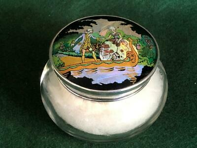 1928 H/M Sterling Silver Top Powder Box w Butterfly Wing Crinoline Lady Scene