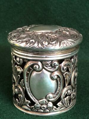 Lovely Chester 1899 Hallmarked Sterling Silver Topped Ruby Crystal Cosmetic Jar