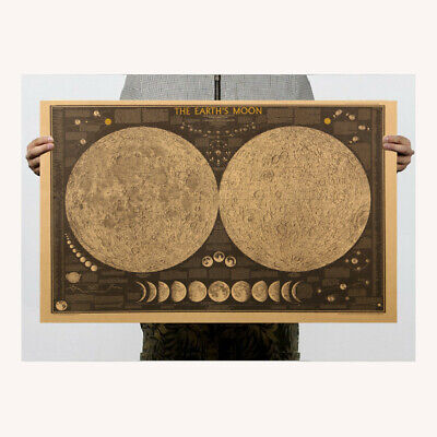 """THE EARTH'S MOON Poster 27"""" x 17"""" Kraft Paper - Lunar Map ASTRONOMY Wall Decor"""