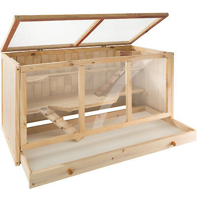 Hamster Wooden Cage Villa Hut Rodent Mouse Pet Small Animals 3 Tiers 95x50x50 cm