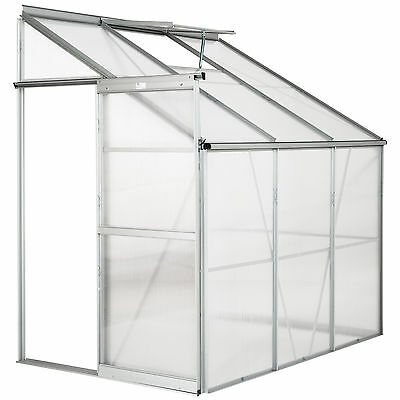 Lean to greenhouse polycarbonate aluminium grow plants growhouse garden 4,09m³
