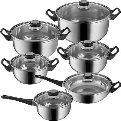 12-pc stainless steel cooking pots lids frying pan cooking pot set saucepan NEW