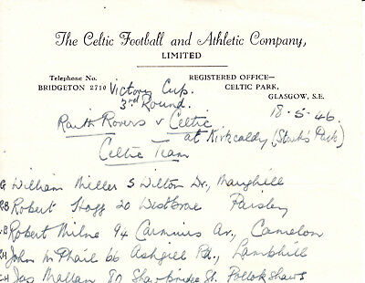 CELTIC at Raith Rovers, 18th May 1946, Victory Cup 3rd round.  Celtic teamline