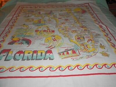 VINTAGE 50's KITCHY MID CENTURY  STATE FLORIDA  TABLECLOTH