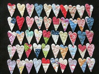 50  Colorful Vtg Cutter Quilt Mini Hearts - Card Making!  - So  Cute!