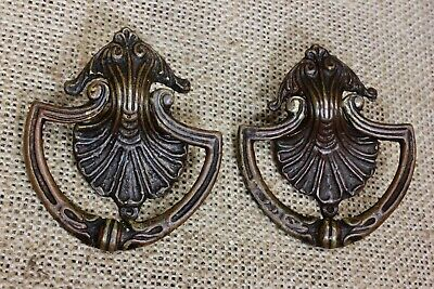 2 drop handles Drawer bail pulls old dark brass vintage early 1900's shell