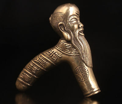 China Brass Hand Carved Cane Walking Stick Head Handle Longevity Old Man Statue