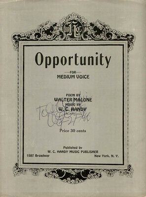 W.c. Handy - Inscribed Sheet Music Signed 09/27/1946