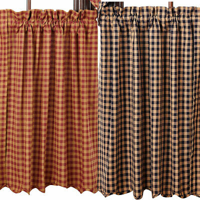 "Check Scalloped Lined Curtain Tiers Burgundy Navy 24"" or 36"" Lengths"