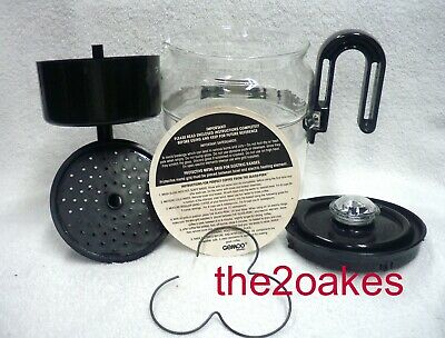 Vintage Gemco BLACK Glass-Perk Stovetop 4-8 Cup Coffee Pot Percolator COMPLETE