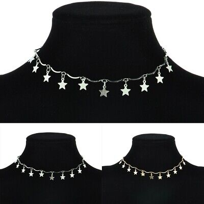 Women Girl Summer Gold Silver Plated Star Chain Choker Pendants Necklace Jewelry