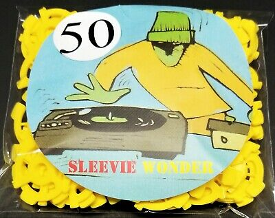 """50 Spindle Adapters Seven Inch Vinyl Records Yellow Plastic Insert dj 7"""" 45rpm"""