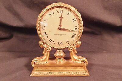 RARE American D'ore Mounted Figural Desk Clock Sterling Bronze Co. Nude Mermaids