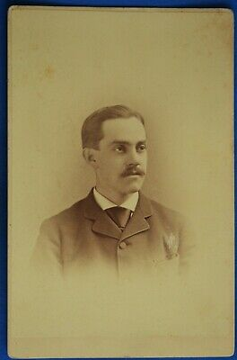 Cabinet Photo Man Mustache by Pach New York NY Backstamp