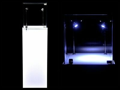 Pedestal Exhibition Stand Display White Case Store Fixture #SC-PED-W-L