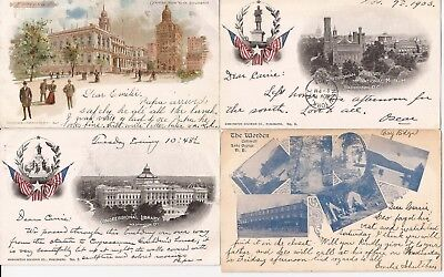 U.S.-POSTCARDS-7 great early PMCs(Private Mailing Cards)-1898+ period