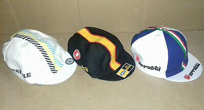 3 x MADE IN ITALY CYCLING TEAM BIKE CAP HAT STOCK  (Yorkshire, MTN, Ferretti)