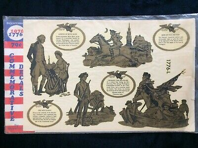 New Vintage 1976 Meyercord Bicentennial Commemorative Decals Historic Figures