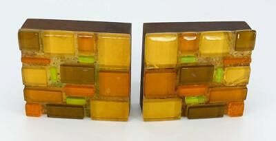 Dorothy Larson 1950's Mid Century Modern MCM Fused Glass Bookends Set 2 Walnut