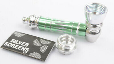 Metal Smoking Pipe and Screens GREEN Smoking Pipe Metal Smoking Pipe With Lid