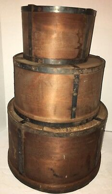 Lot of 3 Early Primitive Round Dry Measure Pantry Box Nesting AAFA Antique