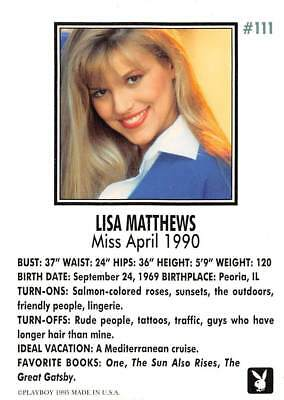 Playboy 1995 Trading Card Lisa Matthews Miss April 1990 #111