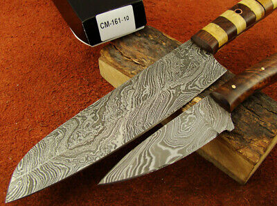 Set of 2 Handmade Damascus Knives Hunting Kitchen/Chef's Knives NEW! 161-10