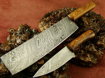 Set of 2 Handmade Damascus Knives Hunting Kitchen/Chef's Knife NEW! 2219-13
