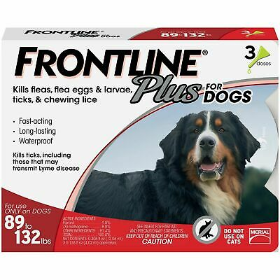 Frontline Plus for Dogs Red 89-132 lbs (40-60kg) 3 Month 3 Pack For XL Dogs