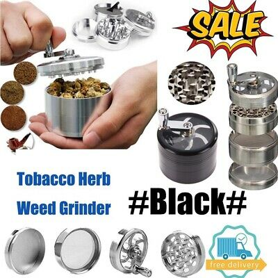 Black Large Stainless Spice Tobacco Herb Weed Grinder-4 Layers Crusher 55MM