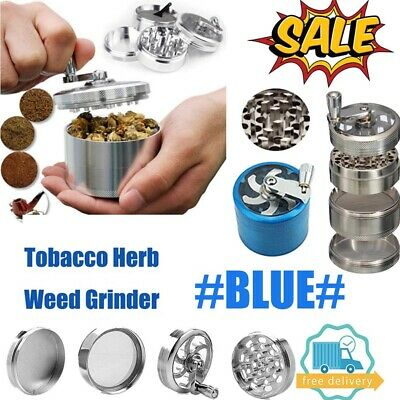 Blue Large Stainless Spice Tobacco Herb Weed Grinder-4 Layers Crusher 55MM