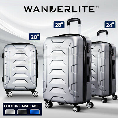 Wanderlite 1/2/3pc Luggage Sets Suitcases Trolley TSA Travel Carry Bag Hard Case