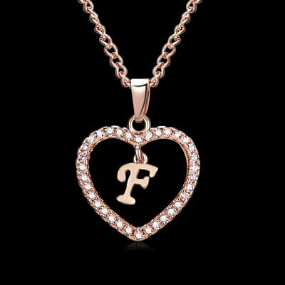 Fashion Crystal Initial Alphabet Letter F Love Heart Pendant Chain Necklace Hot