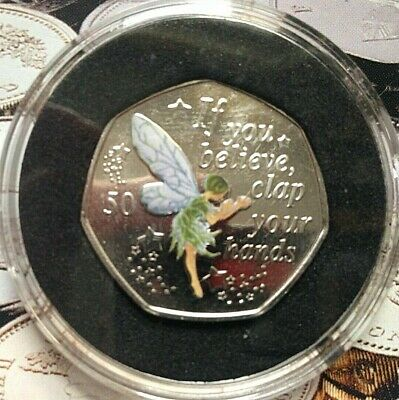 """2019 IOM Peter Pan 50p coin """"Tinkerbell"""" Uncirculated + decal - Silver look"""