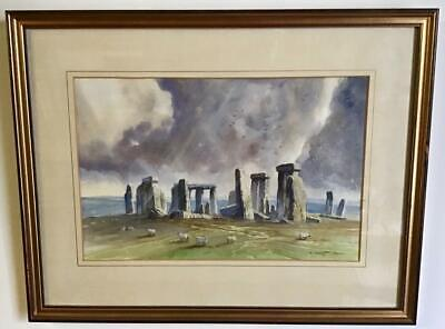 Fine SIGNED ORIGINAL WATERCOLOUR PAINTING of STONEHENGE Wiltshire FRAMED