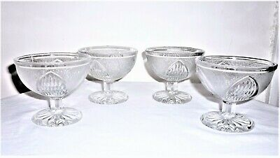 Set Of 4 Vintage 1940'S-1950'S Clear White Moulded Glass Fruit Dishes