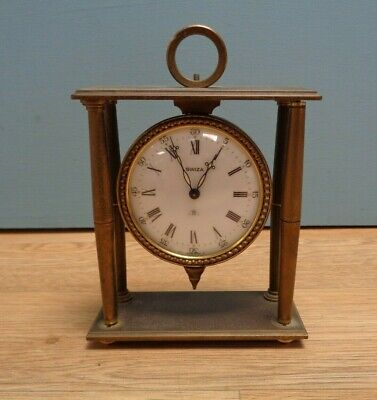 Vintage Swiza 8 Day Mantel Clock Swiss Made - Brass Wind Up Mechanical Working