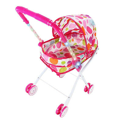 Foldable Baby Doll Stroller Trolley with Basket, Hood Pink for Toddlers Gift