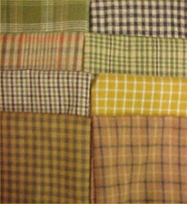 8 Cotton Quilt Fabric FQ Fat Quarters 18 x 22 Pack Flannel Antique Greens Buffs