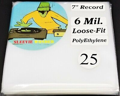 """25 6mil Loose Fit Seven Inch Vinyl Record Outer Sleeves Plastic dj 7"""" 45 45rpm"""