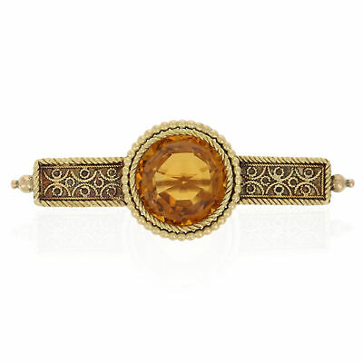 6.00ct Round Cut Citrine Victorian Etruscan Revival Brooch 14k Gold Antique Pin
