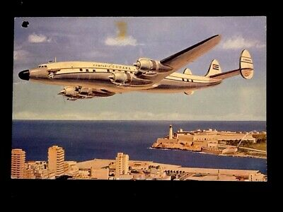 """c1950's Cubana Airlines Giant Super """"G"""" Constellation Airplane Vintage Postcard"""